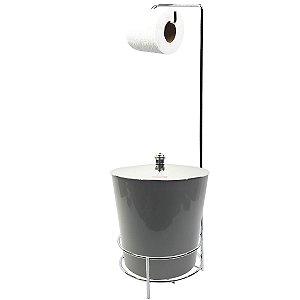 Suporte Porta Papel Higiênico lixeira Cinza 5 Litros Com Tampa Cromado Cesto Lixo Banheiro - AMZ