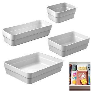 Kit 4 Organizador De Gavetas Plástico Cozinha Quarto Multiuso Objetos - KTE 001 Ou - Branco