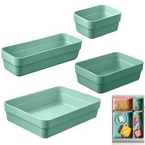 Kit 4 Organizador De Gavetas Plástico Cozinha Quarto Multiuso Objetos - KTE 001 Ou - Verde Menta