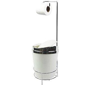 Suporte Porta Papel Higiênico lixeira Branco 5 Litros Com Tampa Basculante Cromado Banheiro - AMZ