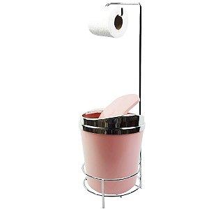 Suporte Porta Papel Higiênico lixeira Rosa 5 Litros Com Tampa Basculante Dourado Banheiro - AMZ