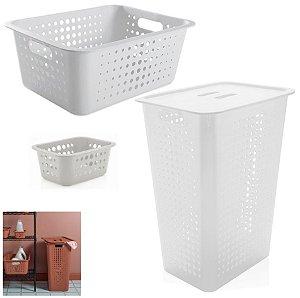 Kit 3 Cestos Organizador 47L/14,5L/1,5L Roupas Suja Multiuso Lavandeira Closet - Ou - Branco