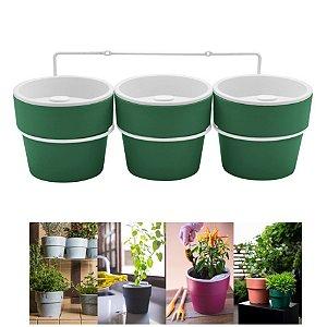 Kit Plantar 3 Vasos Autoirrigável Com Suporte Parede Flor Tempero - KT 2500 Ou - Verde Botânico