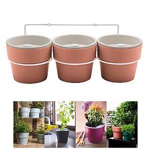Kit Plantar 3 Vasos Autoirrigável Com Suporte Parede Flor Tempero - KT 2500 Ou - Terracota