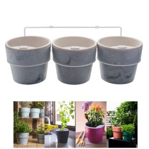Kit Plantar 3 Vasos Autoirrigável Com Suporte Parede Flor Tempero - KT 2500 Ou - Concreto