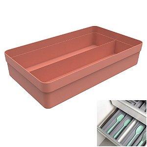 Organizador Gaveta Divisor Porta Utensílios Multiuso Cozinha Plástico Logic - OL 1100 Ou - Terracota
