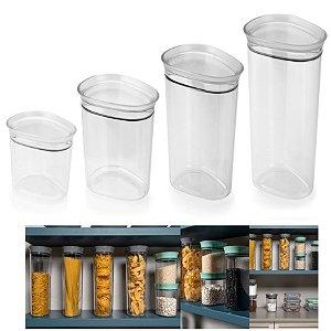 Kit 4 Potes Herméticos Porta Mantimentos Alimentos C/ Tampa Armário Cozinha - KTE 015 Ou - Natural