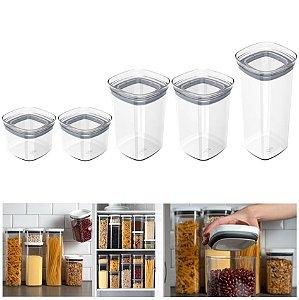 Kit 5 Pote Tampa Hermético Organizador Alimento Mantimento Armário Cozinha Block - Ou - Natural