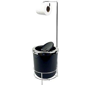 Suporte Porta Papel Higiênico lixeira Preto 5L Com Tampa Basculante Redonda Cromada Banheiro - AMZ