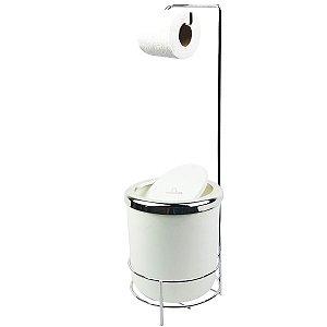 Suporte Porta Papel Higiênico lixeira Branco 5L Com Tampa Basculante Redonda Cromada Banheiro - AMZ