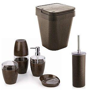 Kit Banheiro 6pç Eco Porta Sabonete Escovas Algodão Lixeira Sutentável - Ou - Cana