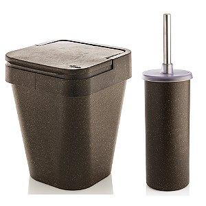Kit Banheiro Eco Suporte Porta Escova Sanitária + Lixeira 5L - Ou - Cana