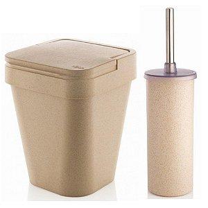 Kit Banheiro Eco Suporte Porta Escova Sanitária + Lixeira 5L - Ou - Marfim