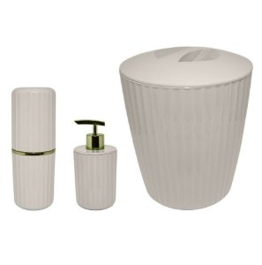 Kit Banheiro Groove Porta Escovas Creme Dental Sabonete Liquido Lixeira Dourado - Ou - Bege