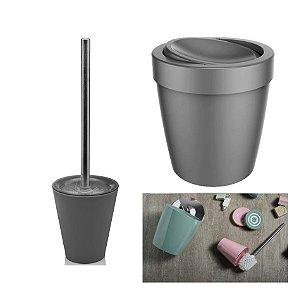 Kit Banheiro Lixeira 5L Basculante + Suporte Porta Escova Sanitária - Ou - Chumbo