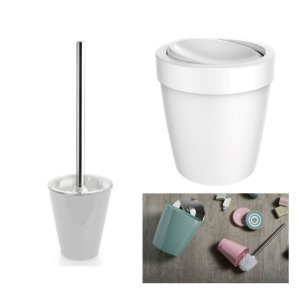 Kit Banheiro Lixeira 5L Basculante + Suporte Porta Escova Sanitária - Ou - Branco