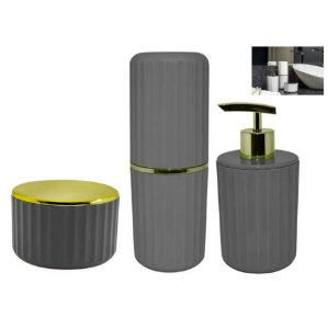 Kit Banheiro Porta Escovas + Dispenser Sabonete + Suporte Algodão Cotonete - Ou - Chumbo