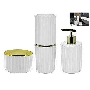 Kit Banheiro Porta Escovas + Dispenser Sabonete + Suporte Algodão Cotonete - Ou - Branco