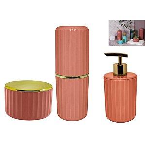 Kit Banheiro Porta Escovas + Dispenser Sabonete + Suporte Algodão Cotonete - Ou - Terracota