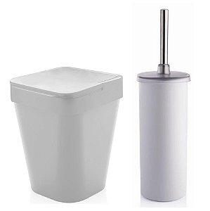Kit Banheiro Suporte Escova Sanitária Vaso + Lixeira 5 Litros Lavabo - Ou - Branco