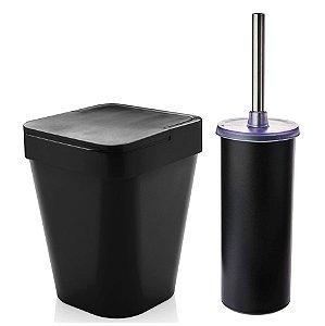 Kit Banheiro Suporte Escova Sanitária Vaso + Lixeira 5 Litros Lavabo - Ou - Preto