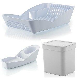 Kit Cozinha Escorredor De Louças + Porta Detergente Esponja + Lixeira 2,5L - Ou - Branco
