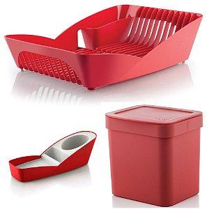 Kit Cozinha Escorredor De Louças + Porta Detergente Esponja + Lixeira 2,5L - Ou - Vermelho