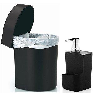 Kit Cozinha Dispenser Porta Detergente + Lixeira Hide 3,5 Litros Pia - Ou - Preto