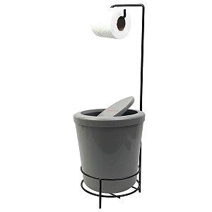 Suporte Porta Papel Higiênico Preto lixeira 5L Com Tampa Basculante Redonda Cinza Banheiro - AMZ