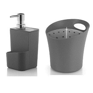 Kit Cozinha Dispenser Porta Detergente + Escorredor Suporte Talheres Pia - Ou - Chumbo