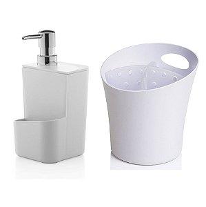 Kit Cozinha Dispenser Porta Detergente + Escorredor Suporte Talheres Pia - Ou - Branco