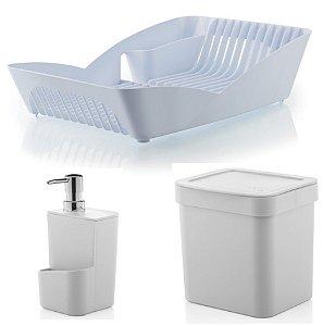 Kit Cozinha Escorredor De Louças Pratos + Porta Detergente + Lixeira 2,5L - Ou - Branco