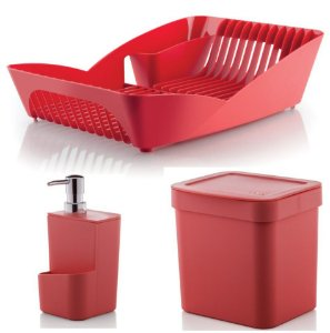 Kit Cozinha Escorredor De Louças Pratos + Porta Detergente + Lixeira 2,5L - Ou - Vermelho