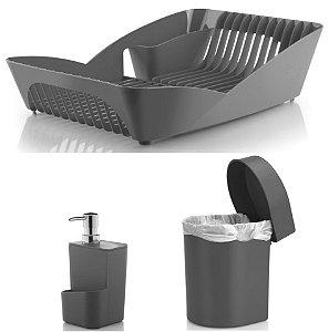 Kit Cozinha Escorredor De Louças Pratos + Porta Detergente + Lixeira 3,5L - Ou - Chumbo