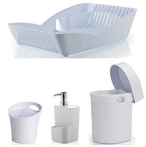 Kit Cozinha Escorredor Louças e Talheres + Porta Detergente + Lixeira 3,5L - Ou - Branco