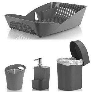 Kit Cozinha Escorredor Louças e Talheres + Porta Detergente + Lixeira 3,5L - Ou - Chumbo