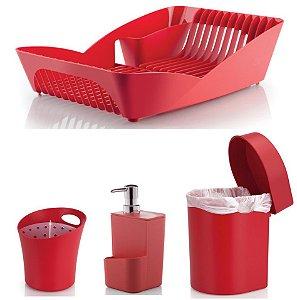 Kit Cozinha Escorredor Louças e Talheres + Porta Detergente + Lixeira 3,5L - Ou - Vermelho
