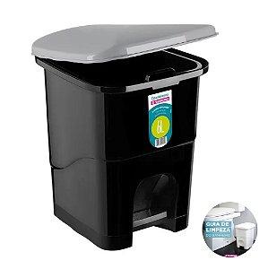 Lixeira 6 Litros Plástica Com Pedal Cesto Lixo Escritório Banheiro Cozinha - 272 Sanremo - Preto
