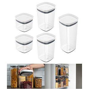 Kit 5 Potes Herméticos Porta Alimentos Mantimentos Com Tampa Cozinha Block - KTE 027 Ou - Branco