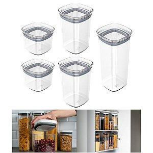 Kit 5 Potes Herméticos Porta Alimentos Mantimentos Com Tampa Cozinha Block - KTE 027 Ou - Natural