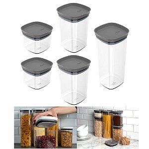 Kit 5 Potes Herméticos Porta Alimentos Mantimentos Com Tampa Cozinha Block - KTE 027 Ou - Chumbo