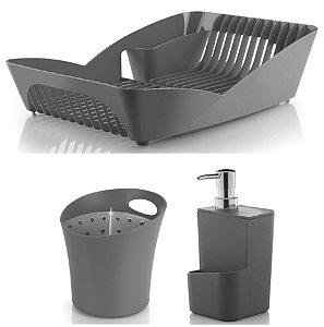 Kit Cozinha Infinity Escorredor De Louças e Talheres + Porta Dispenser Detergente - Ou - Chumbo
