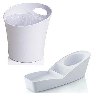 Kit Cozinha Organizador De Pia Porta Detergente + Escorredor Suporte Talheres - Ou - Branco