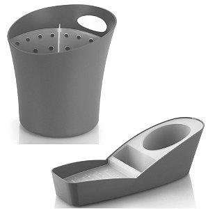 Kit Cozinha Organizador De Pia Porta Detergente + Escorredor Suporte Talheres - Ou - Chumbo