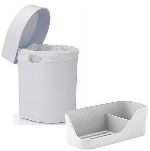 Kit Cozinha Lixeira Hide 3,5 Litros + Organizador De Pia Porta Detergente Esponja - Ou - Branco