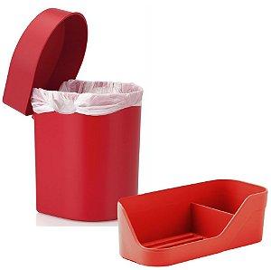 Kit Cozinha Lixeira Hide 3,5 Litros + Organizador De Pia Porta Detergente Esponja - Ou - Vermelho