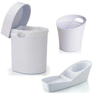Kit Cozinha Organizador Pia Porta Detergente + Lixeira 3,5L + Escorredor Talheres - Ou - Branco