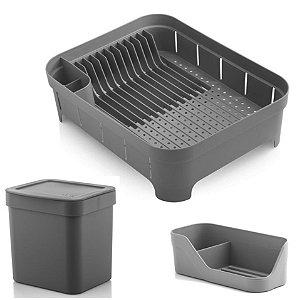Kit Cozinha Trium Escorredor De Louças + Lixeira 2,5L + Porta Detergente - Ou - Chumbo