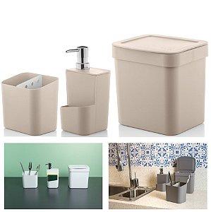 Kit Cozinha Trium Escorredor Talheres + Dispenser Detergente + Lixeira - KTE 012 Ou - Bege