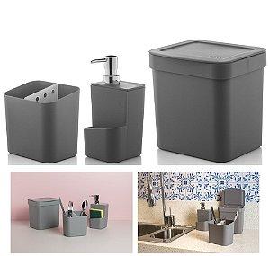Kit Cozinha Trium Escorredor Talheres + Dispenser Detergente + Lixeira - KTE 012 Ou - Chumbo